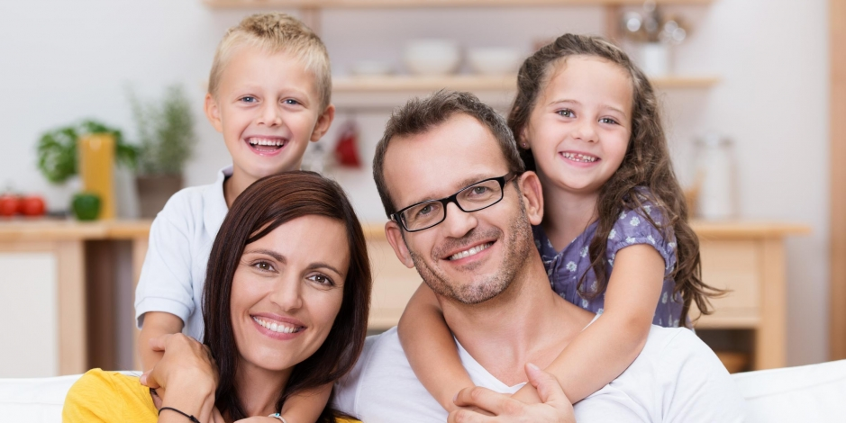 residential heating and cooling happy family in good air quality